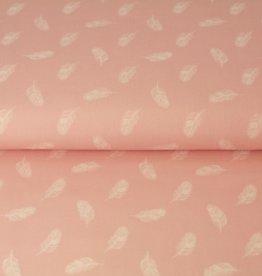 Stenzo Popeline roze met witte pluimpjes