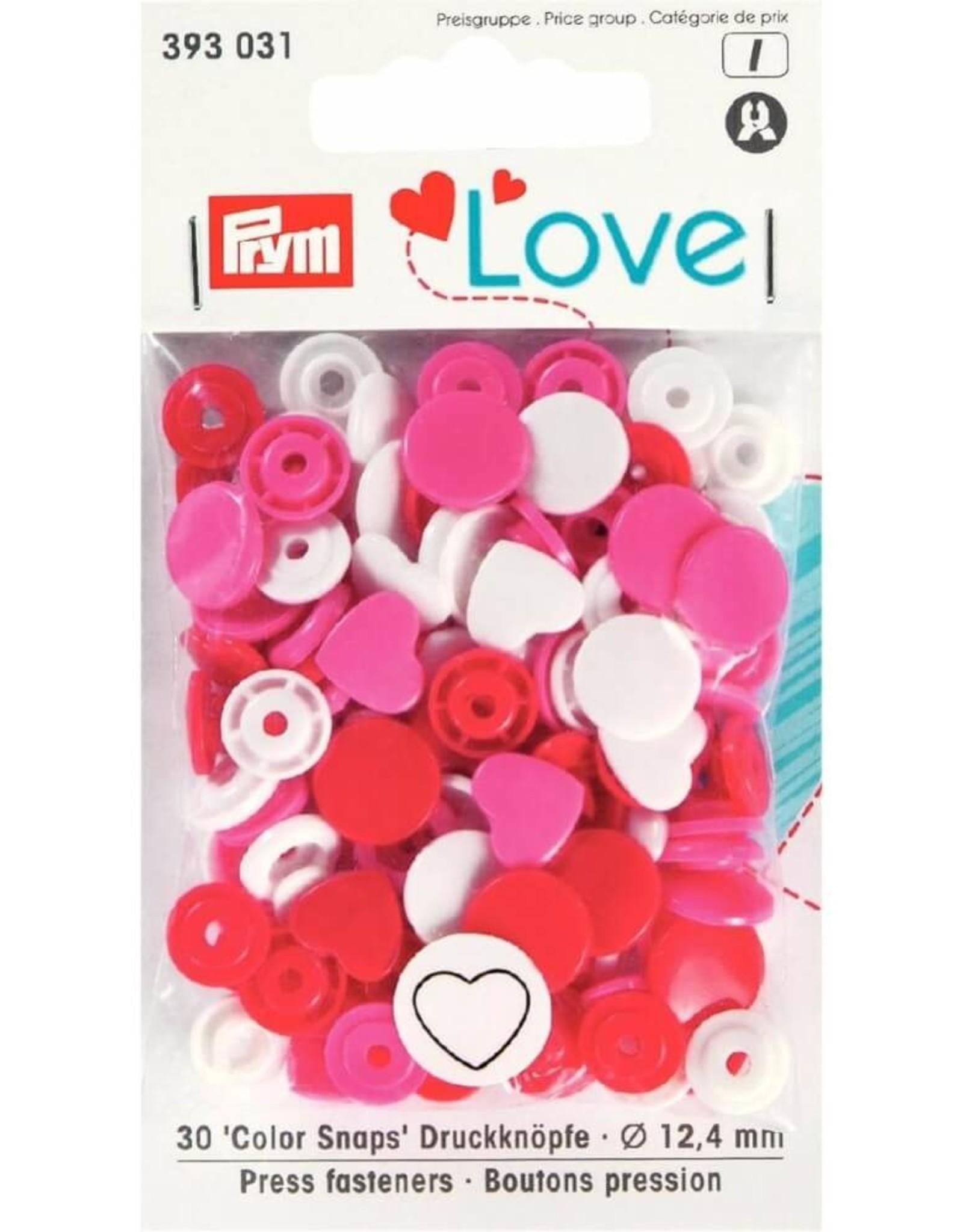 Prym Prym  Love drukknopen KST 12,4 mm wit-rood-fuchsia