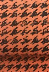 Oranje tricot pied de poule stijl