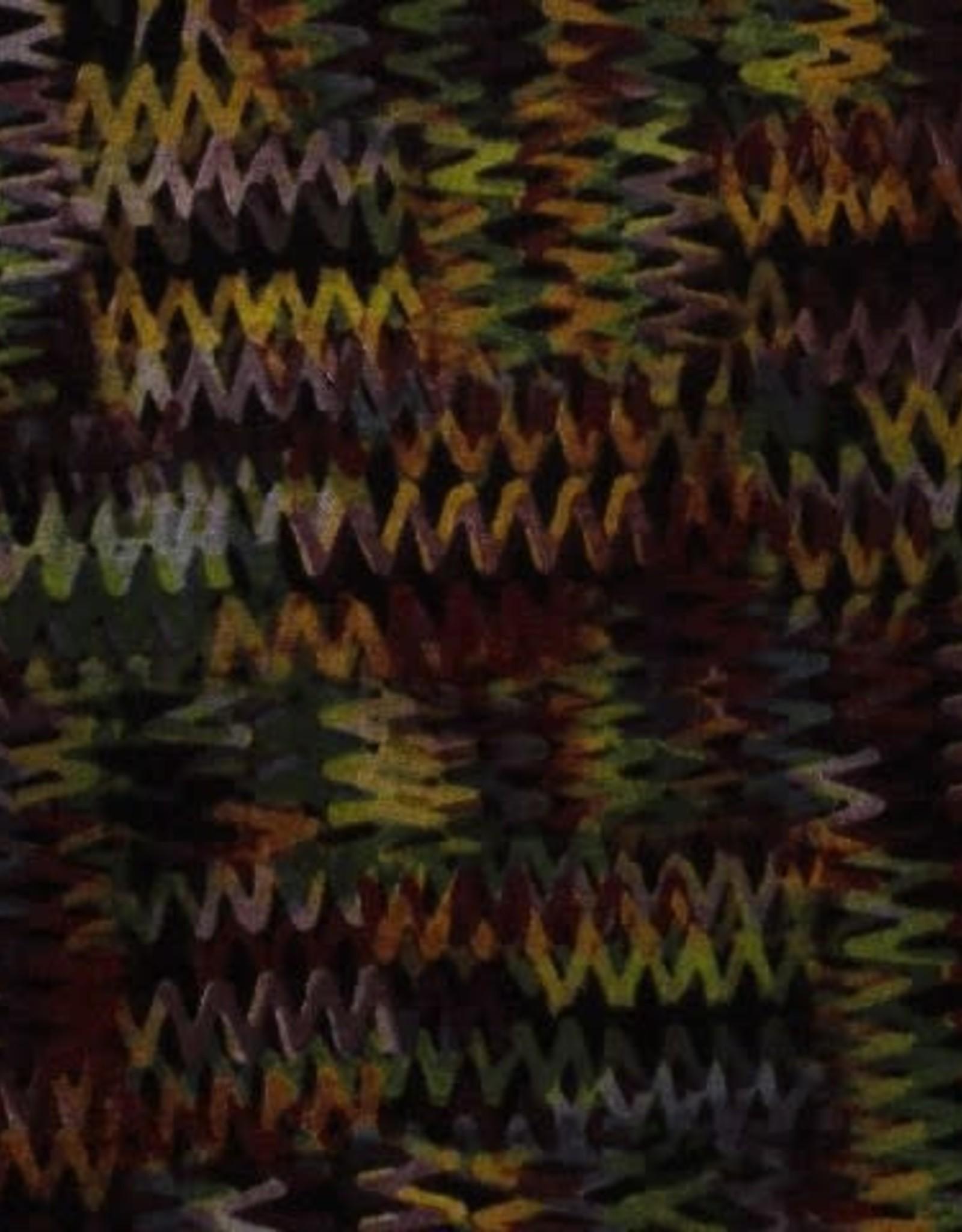 Polyesterviscose geelgroene zigzag