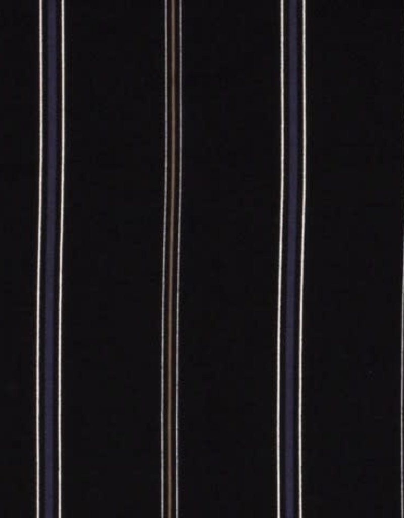 Crepe de luxe stripe zwart/blauw/oker