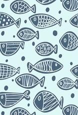 Spons lichtblauw met visjes