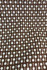 Dunne ribfluweel bruin met print