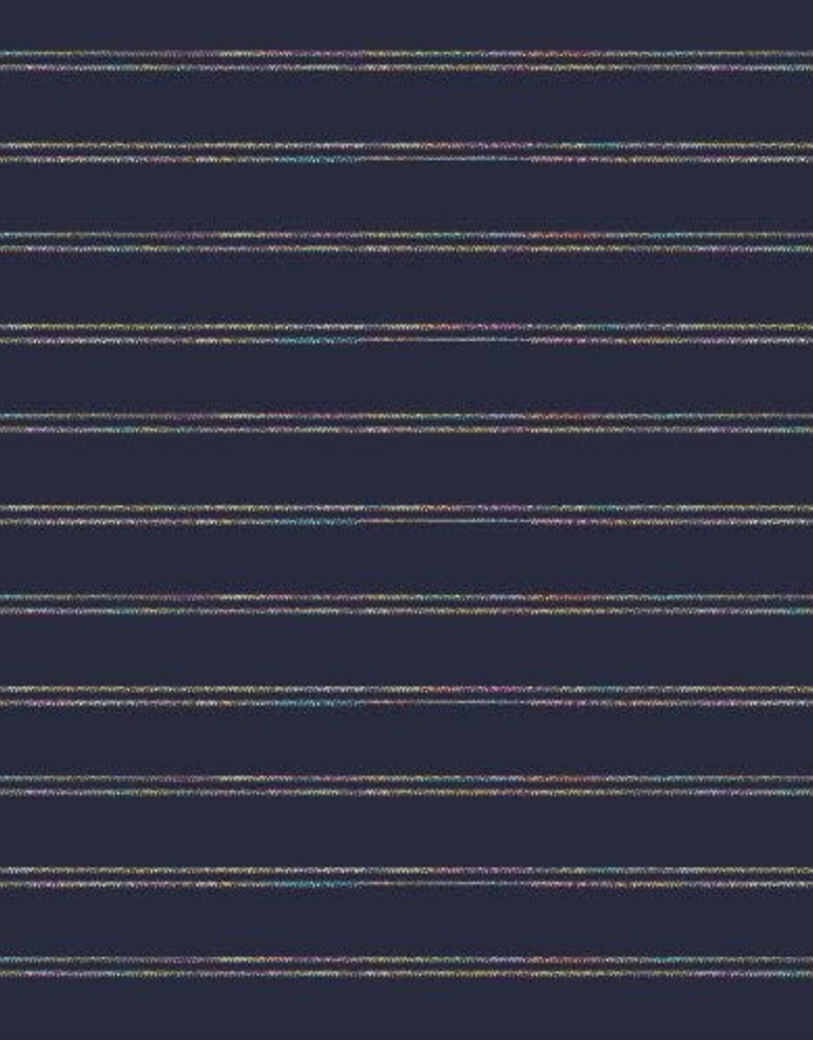 Boordstof blauw lurex regenboog