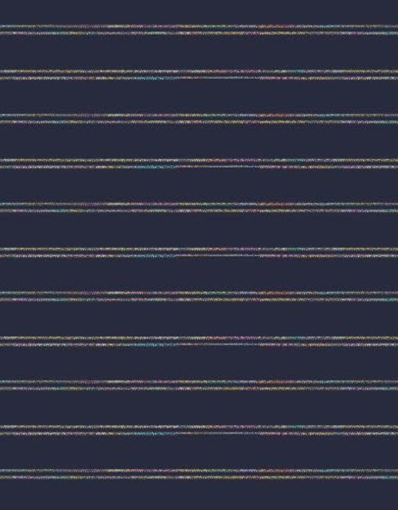 Boordstof blauw lurex gekleurd