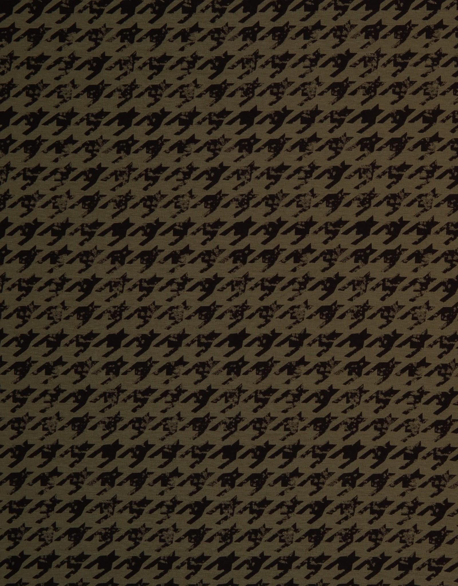 Kaki tricot pied de poule stijl