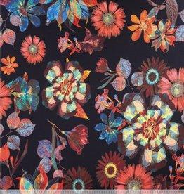 Viscosetricot veelkleurige bloemen