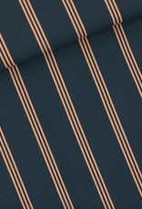 SYAS Three lines peach viscose India inktblauw