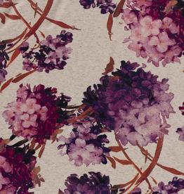 Viscose linnen roze bloemen