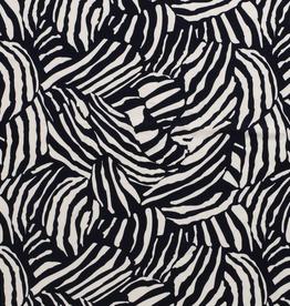 Scuba crepe zwart wit zebra