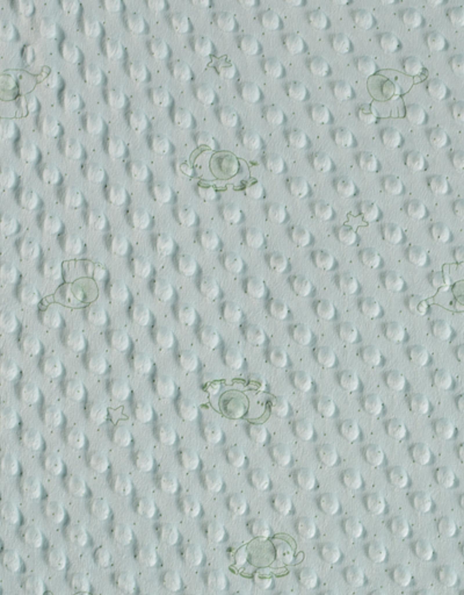 Minky print  olifant mint
