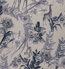 Viscose linnen paarse bloemen wilde dieren