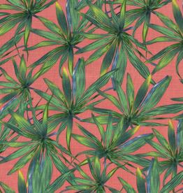 Viscose spandex  roze met groene bloemen
