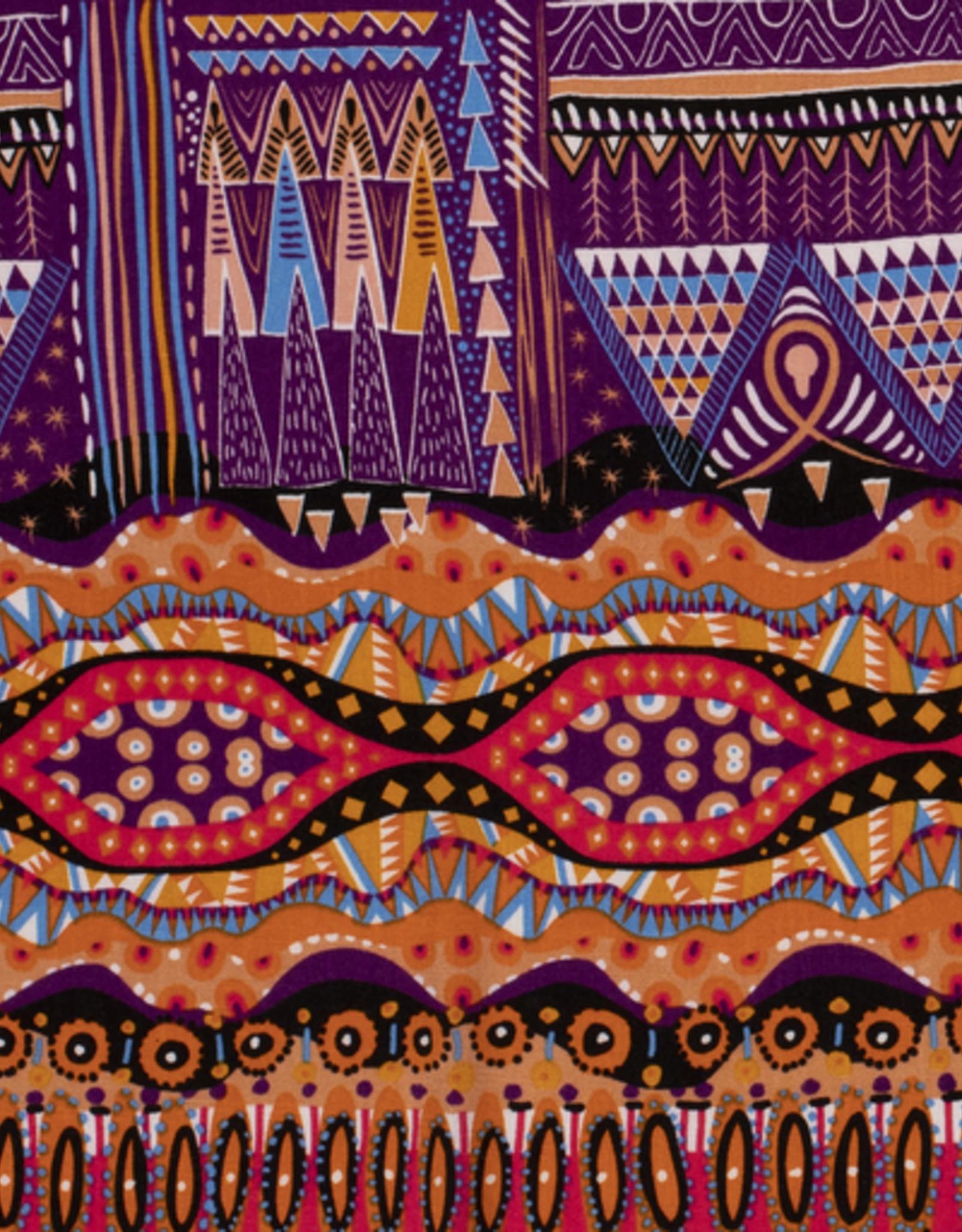 Viscose spandex  Afrikaanse print oranje