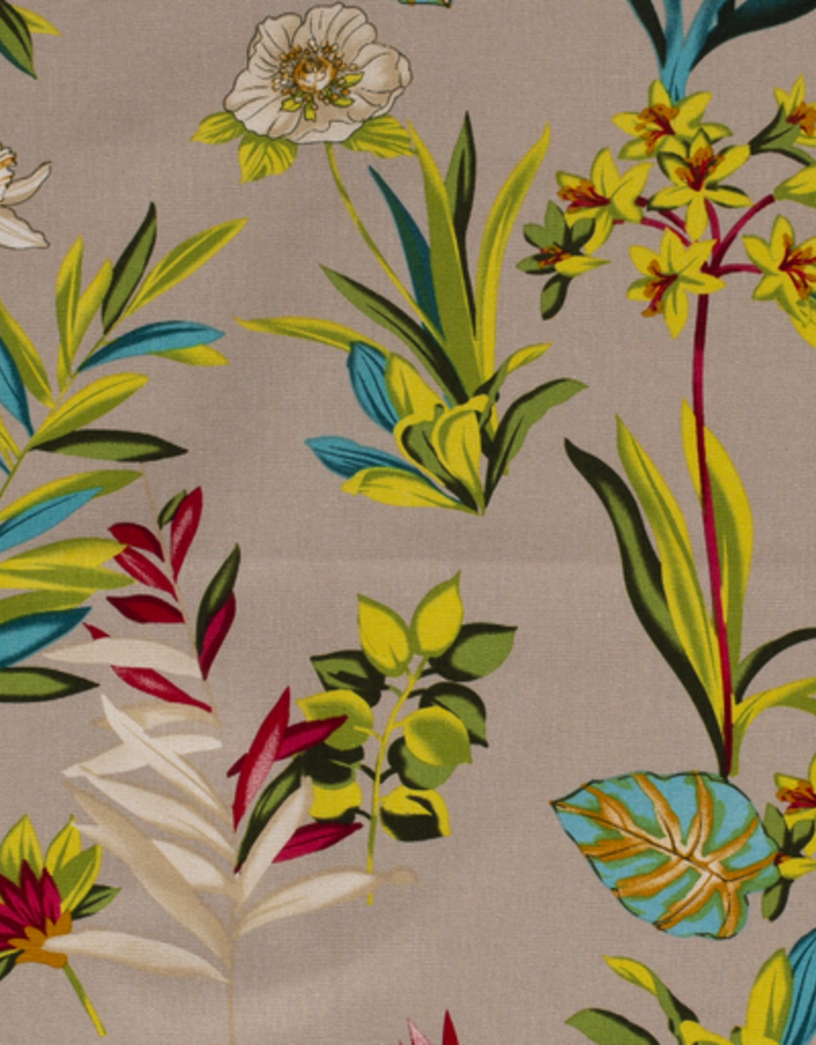 Linnenviscose beige met felle bloemen