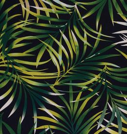 Linnenviscose donkerblauw met groene bladeren