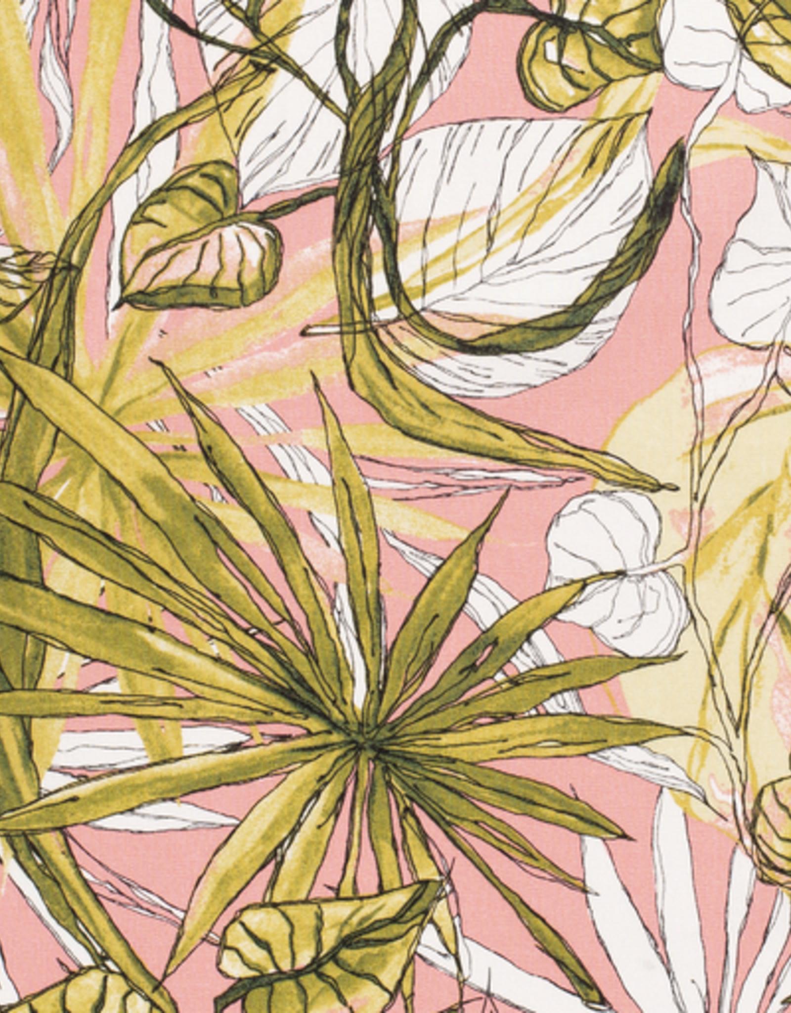 Linnenviscose roze met bloemen