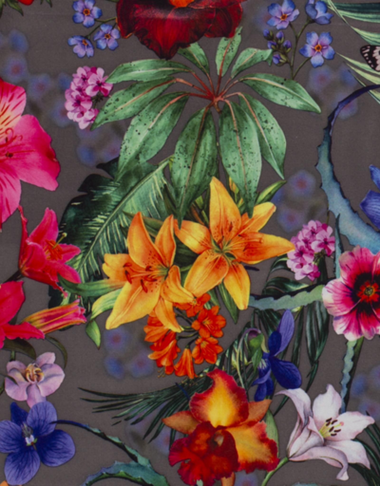 Satijn grijs met bloemen en vlinders