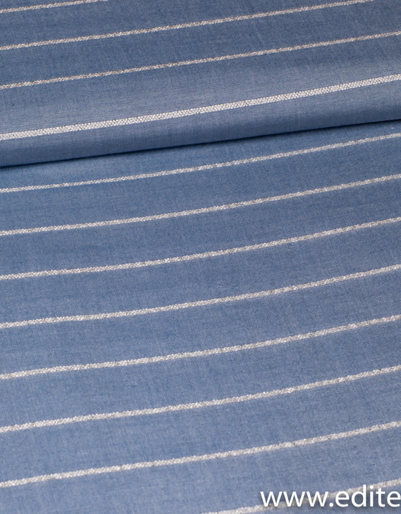 Blauw met zilver gestreept