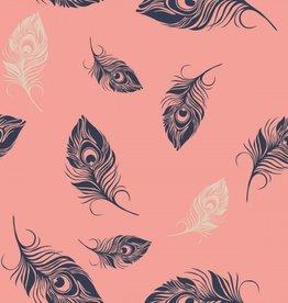 Roze met pluimpjes goud en blauw
