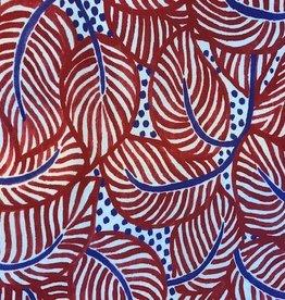 Rood blauwe blaadjes satijn