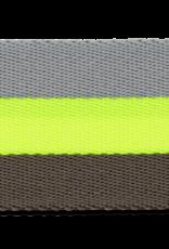 Tassenband grijs fluo geel 40mm