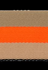 Tassenband bruin fluo oranje 40mm