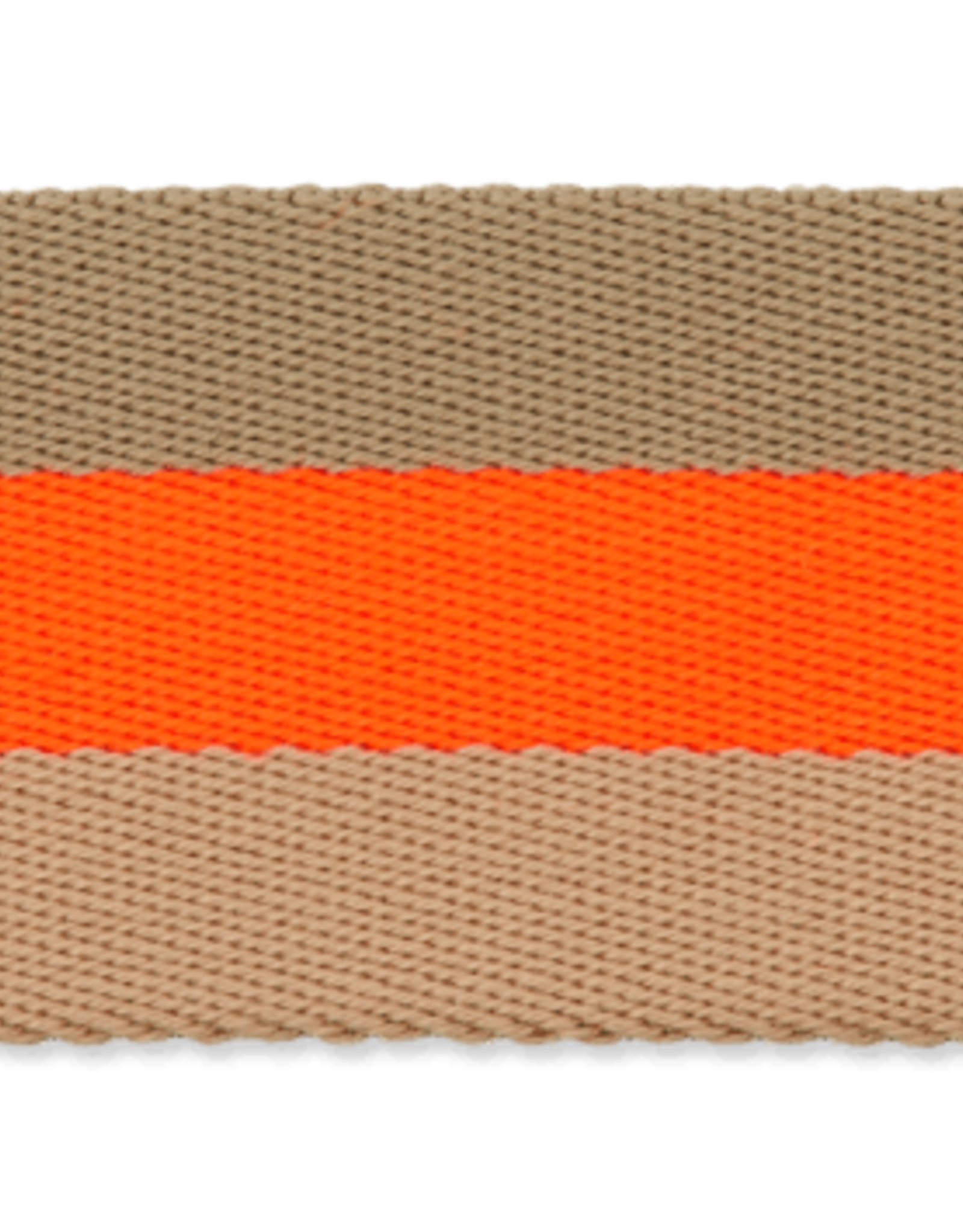 Tassenband bruin flut oranje 40mm