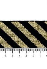 Elastiek schuin gestreept goud lurex 40mm