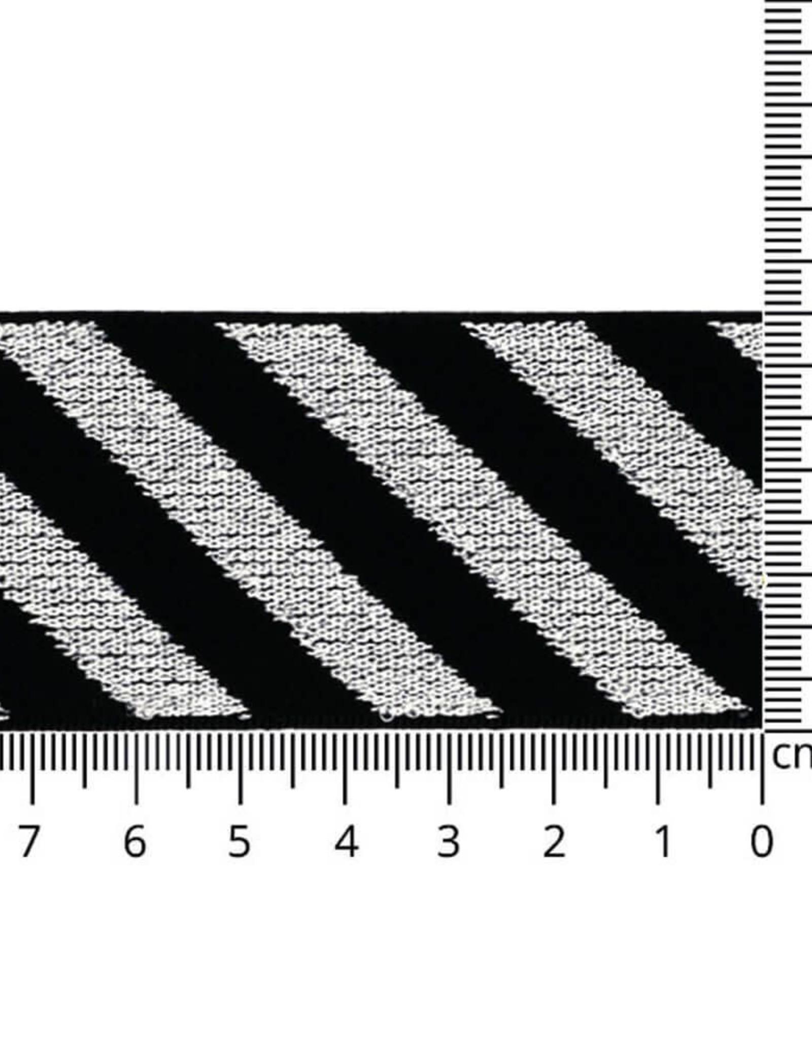 Elastiek schuin gestreept zilver lurex 40mm