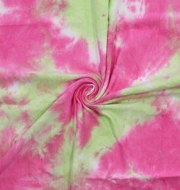 Viscose Tie Dye french terry roze/geel