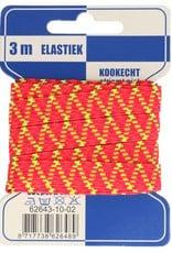 Elastiek met zigzag 10mm geel-roze 3m