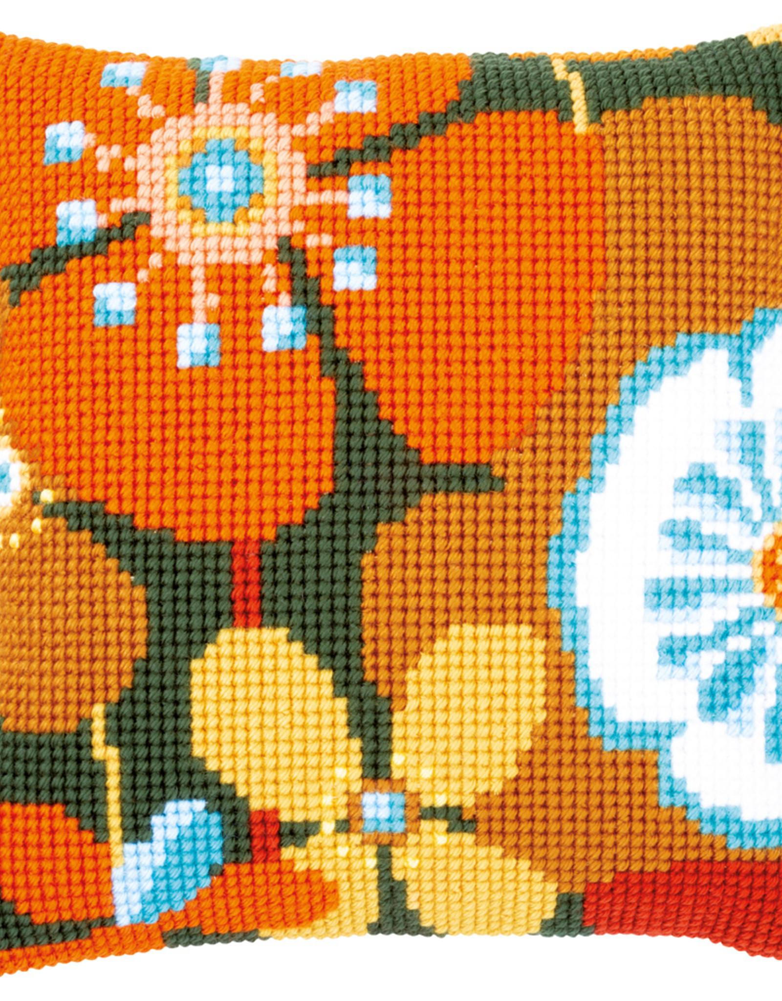 X-steekkussen retro bloemen
