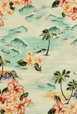 Witte viscose met Hawaii print