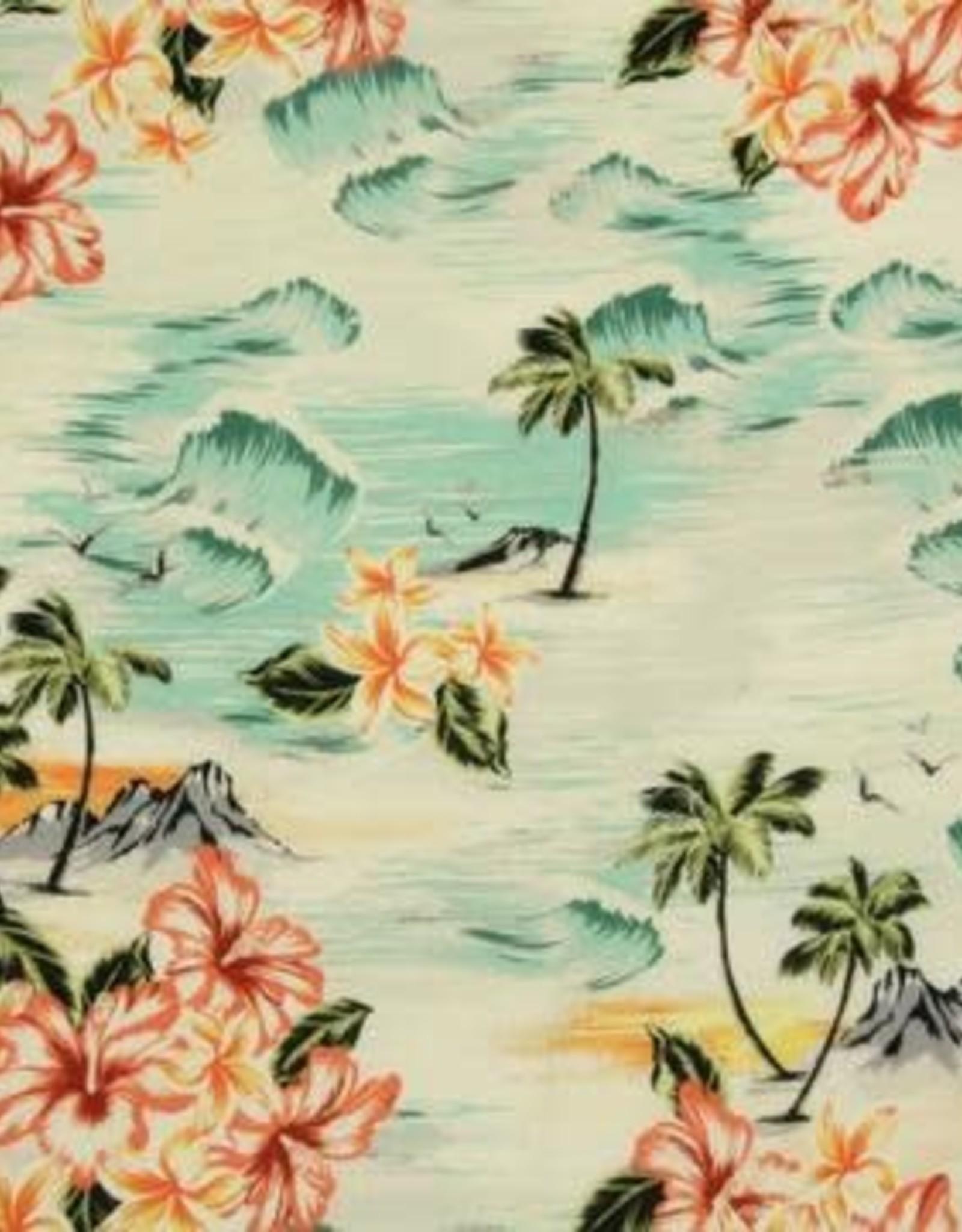 Witte viscose met Hawai print