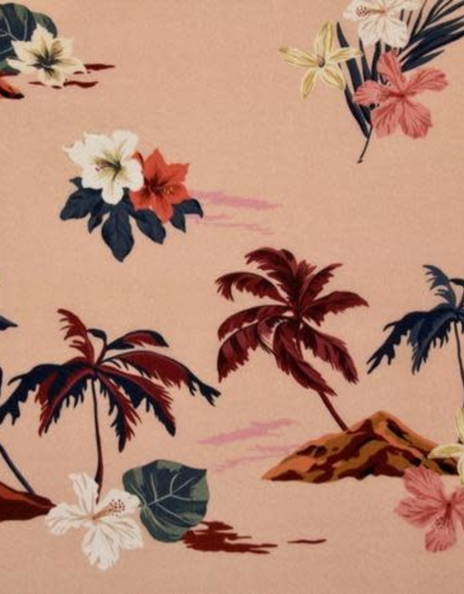 Zacht roze viscose met Hawai print