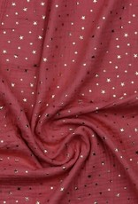 Double gauze soft red gold stars