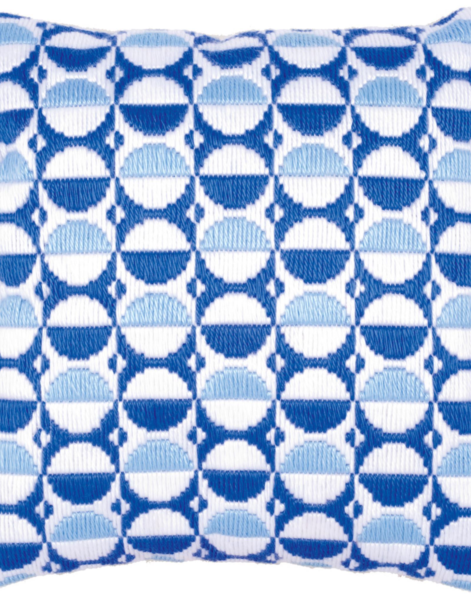 Spansteekkussen blauw/witte cirkels