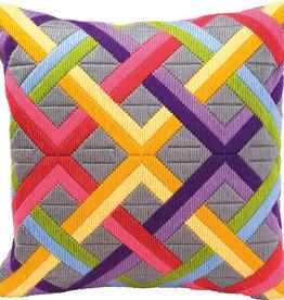 Spansteekkussen Kleurrijke diagonalen
