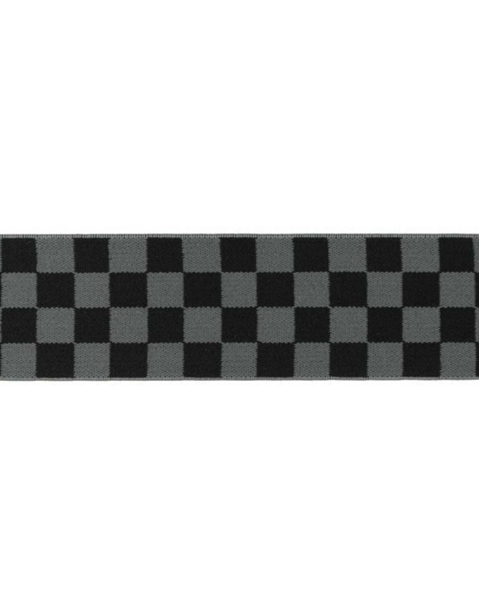Elastiek geblokt 40 mm zwart grijs