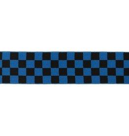 Elastiek geblokt 40 mm zwart blauw