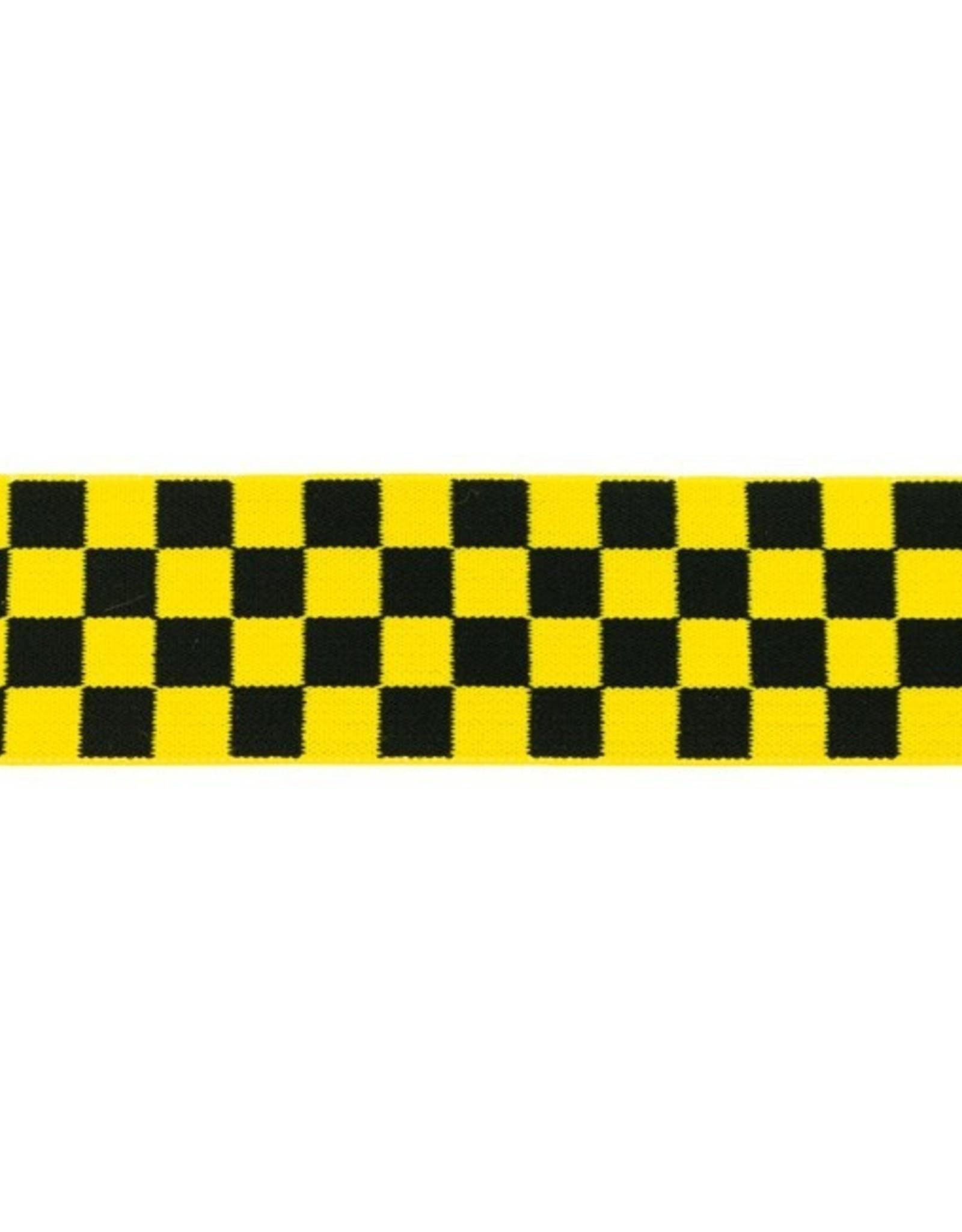 Elastiek geblokt 40 mm zwart geel