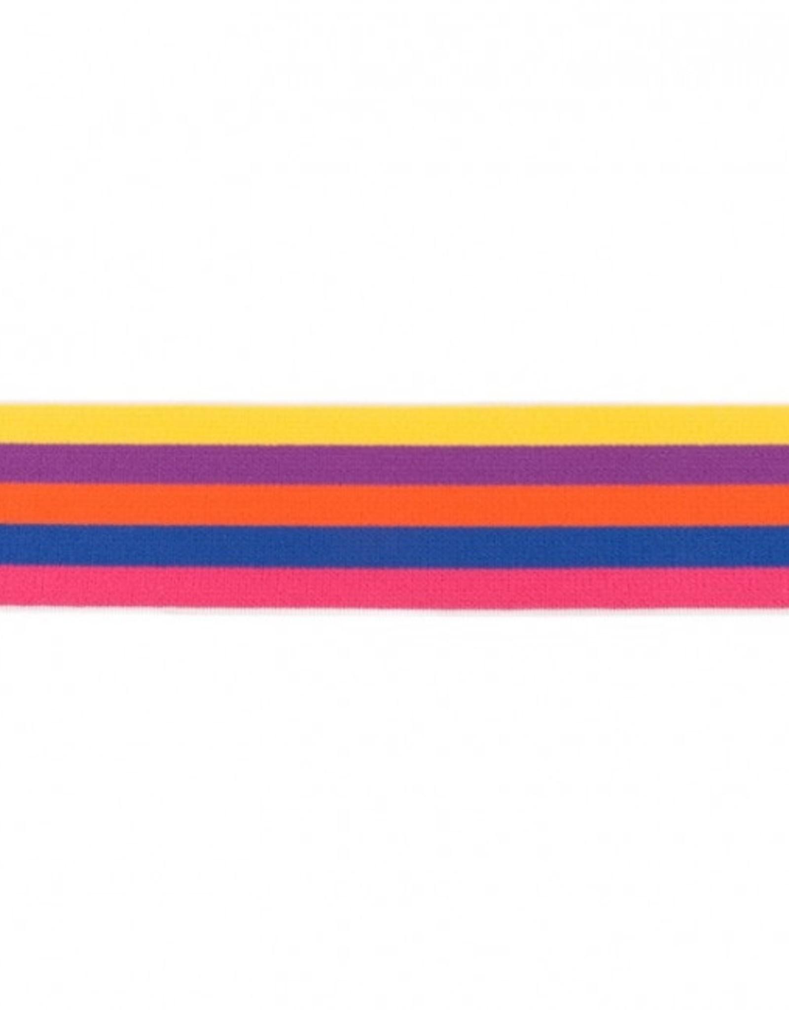 Elastiek multi streep 40 mm roze donkerblauw