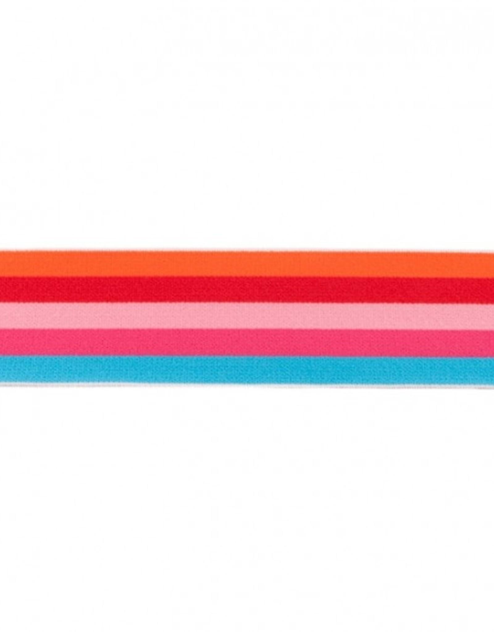 Elastiek multi streep 40 mm oranje turquoise