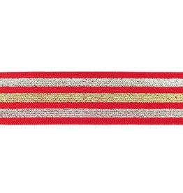 Elastiek lurex zilver 40 mm rood