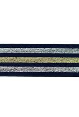 Elastiek lurex zilver goud 40 mm donkerblauw