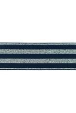 Elastiek lurex zilver 40 mm donkerblauw