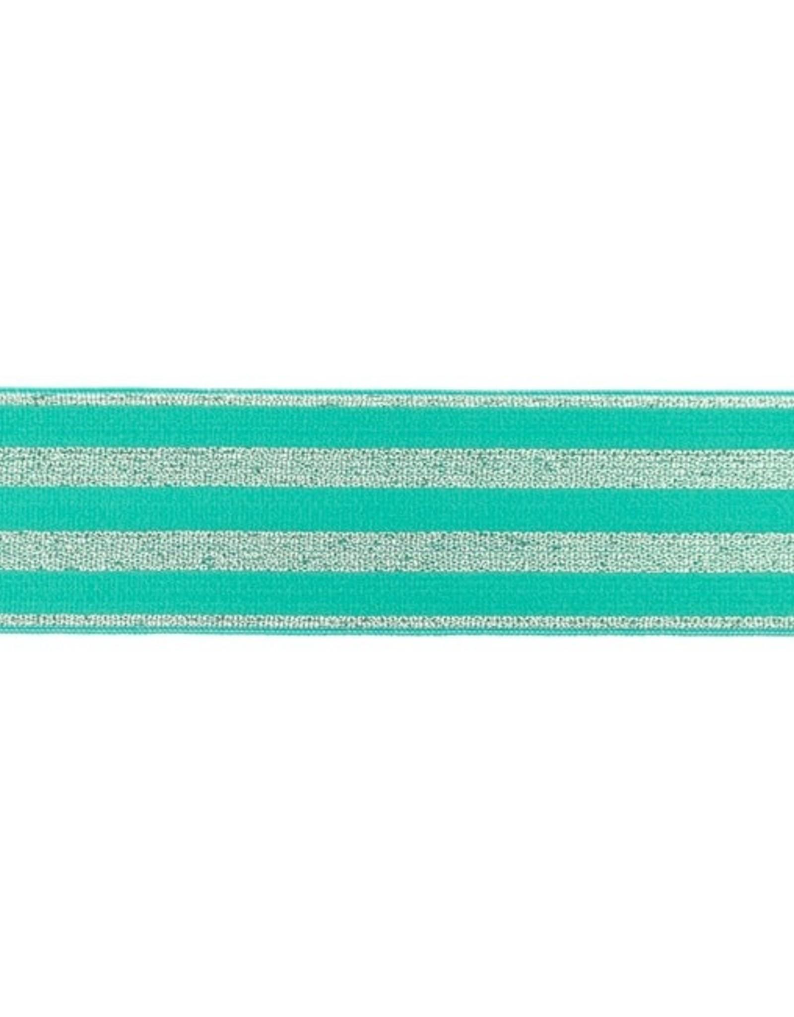 Elastiek lurex zilver 40 mm turquoise