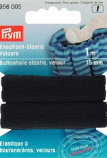 knoopsgatenelastiek velours zwart 15mm x 1m