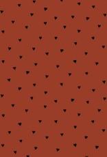 Poppy Poplin brushed hearts roest